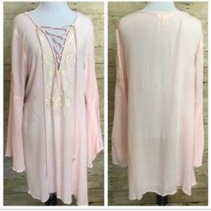 Lucky & Coco Pink Embroidered Lace-up Tunic